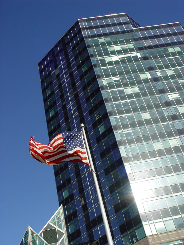 North Point Office Complex Cleveland Ohio American Flag